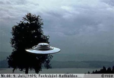 1975年07月09日_P0066#_拍摄于:Fuchsbüel-Hofhalden_Semjase驾驶她的光船围绕一颗14米高的Wettertanne飞行